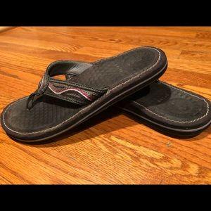 Provo black embroidered flat sandals flip flops 8